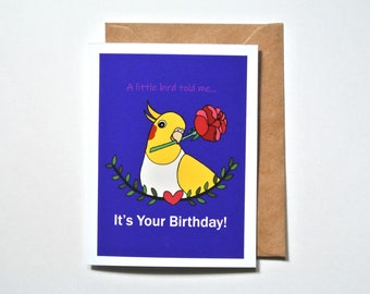 Bird Birthday Card, Funny birthday card, Lutino Yellow White Cockatiel, Cute birthday card for her, Bird lover gift, Cockatiel pet portrait
