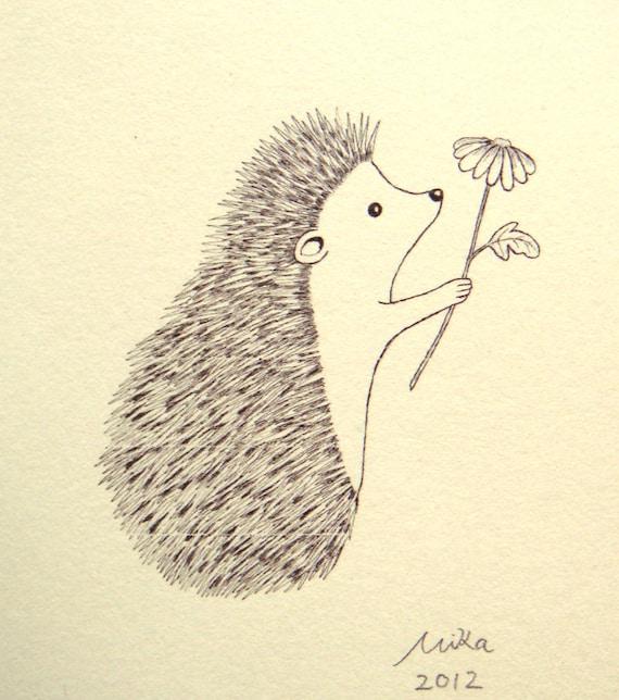 Hedgehog Illustration Print Ink Drawing Print Black White Etsy