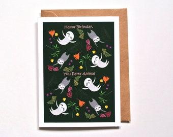 Sloth Birthday Card, Happy Birthday Card, Funny Animal Greeting Card, Sloth lover gift, Whimsical art card, Jungle party animal, Cute sloths