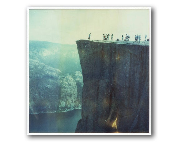 Old Polaroid of Pulpit Rock in Norway, SX70, Polaroid Photography, Preikestolen, Cliffs, Mountains, Fjords in Norway, SX 70, People,
