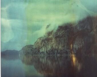 Norway, Old Polaroids, SX70, Polaroid Photography, Fjord, Cliffs, Mountains, Fjord, SX 70, Landscape Photography, Cloudy Morning, Polaroid