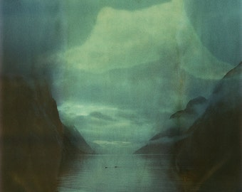 Norway, Old Polaroids, SX70, Polaroid Photography, Fjord, Cliffs, Mountains, Fjord, SX 70, Landscape Photography, Clouds, Calm Morning