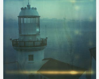 Lighthouse, Ireland, Sea, Nautical, SX70, Polaroid Photography, Vintage, Home, Office, Decor, Original, Landscape, Calming, Architecture
