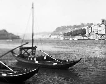 Porto, Signed Photography, Giclee Print, Limited Edition, Analog, Square Format, Small or Large Art, Cityscape, Douro River, Bridge, Boats
