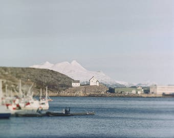 Signed Photography Giclee Print, Analog, Square Format, Landscape, Sea, Large scale Art, Norway, Mountains, Bodø, Harbor, Scandinavia