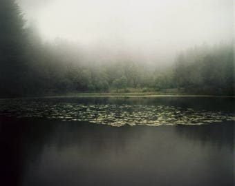 Norway Print, Lake Photography, Giclee Print, Analog, Dark, Landscape Photo, Large Scale, Misty Lake, Forest, Scandinavian Nature, Bergen