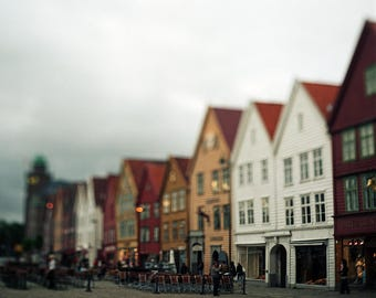 Bergen, Signed Photography Giclee Print, Limited Edition, Film, Analog, Square Format, Large scale Art, Old town, Norway, Scandinavia