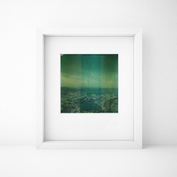 Bergen, Norway, Old Polaroid, SX70, Photography, Ulriken, Sea, Print, Landscape, Calm, Green, Turquoise, Color, Cityscape, Line, Horizon
