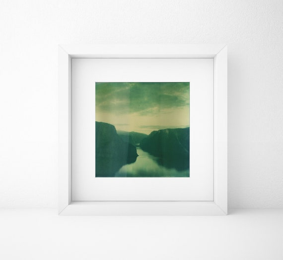 Norway, Old Polaroid, SX70, Photography, Fjord, Cliffs, Mountains, Sea, Print, Landscape, Calm, Green, Turquoise, Sunset, Color, Contrast