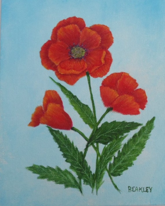 Acrylic Painting Of Poppies Poppy Flower Painting Floral Etsy