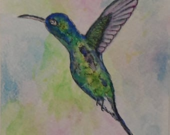 Hummingbird Card Watercolor Cards Watercolor and Ink Hummingbirds Greeting Cards Watercolors Watercolor Hummingbird Card