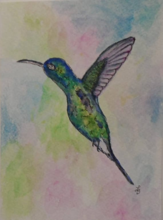 Hummingbird card watercolor cards watercolor and ink etsy image 0 m4hsunfo