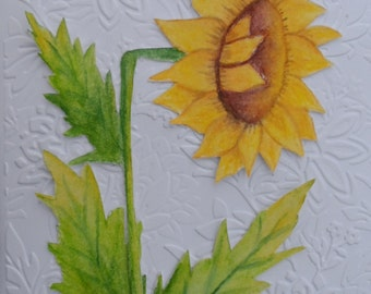 Watercolor Sunflower Card Watercolor Sunflower Greeting Card Watercolors Watercolor Flowers Sunflowers