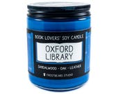 Oxford Library - 8 oz Book Lovers' Soy Candle - Book Candle -  Book Lover Gift - Scented Soy Candle - Frostbeard Studio - 8oz jar
