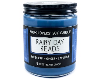 Rainy Day Reads - 8 oz Book Lovers' Soy Candle - Book Candle -  Book Lover Gift - Scented Soy Candle - Frostbeard Studio - Spring Rain