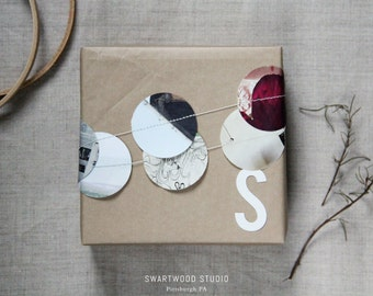 Gift Topper: Sewn Paper Garland with Die-cut Letter