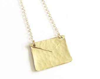 Gold Envelope Necklace on Gold Filled Chain - Gift For Her - I love you jewelry - Letter Necklace