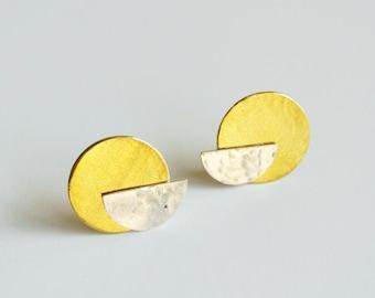 Half Moon Stud Earring, Sterling Silver Stud with Gold Brass Disc Ear Jacket Earring, Minimal Art Deco Crescent Half Circle Earring Jewelry