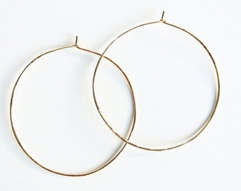 """Textured Hammered Large Gold Hoop Earrings, 14kt Gold Filled Hoops, Gold Hoops - 2 1/4"""" Wide"""