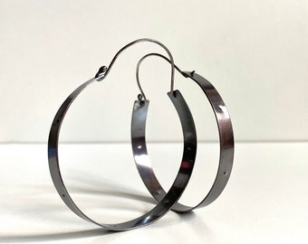 """Large Argentium Silver Statement Hoop Earrings 2 1/2"""" Wide - Nickel Free Earrings -Hypoallergenic Earrings"""