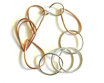 Mixed Metal Chunky Links - Copper and Sterling Silver Statement Bracelet- Circle and Tear Links - Adjustable