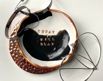 Confident Women Jewelry Dish, Boss Lady Dish, Black and White - Slay Print Dish, Effortless Beauty Polymer Clay Dish, Painting Jewelry Dish