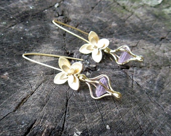 Clearance Matte GOLD Layered FLOWER Dangle EARRINGS Captive Pink Glass Crystal on Gold V Wires DawnofCreation
