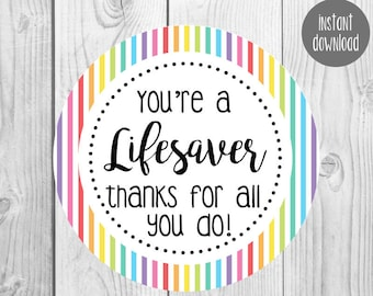 picture regarding You're a Lifesaver Printable identify Youre a lifesaver Etsy