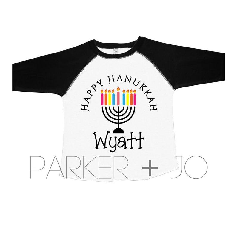 Personalized Hanukkah Menorah Name Shirt   Menorah Shirt  Toddler Raglan  Hanukkah Raglan
