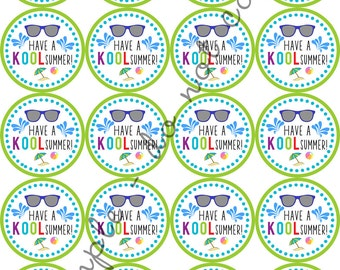 "INSTANT DOWNLOAD / Have a Kool Summer 2"" printable Party Circles / Cupcake Topper / Stickers / Thank You Tags"