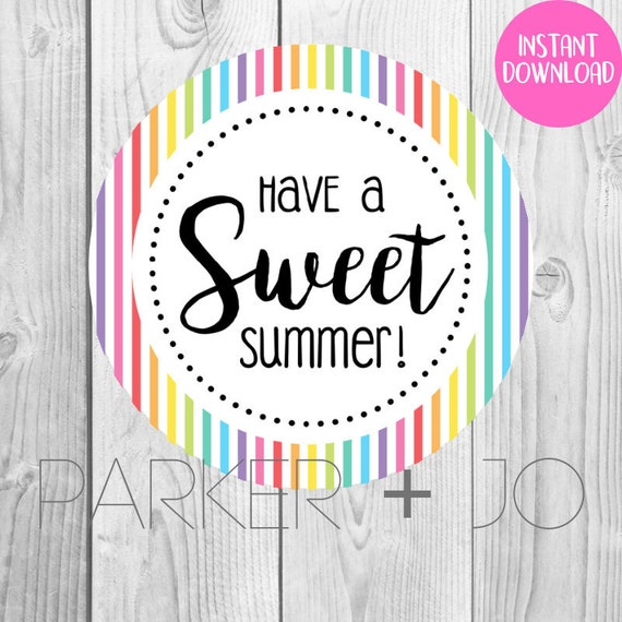 picture regarding Have a Sweet Summer Printable known as Immediate Obtain Consist of a Adorable Summer time / Present Tags Instructors