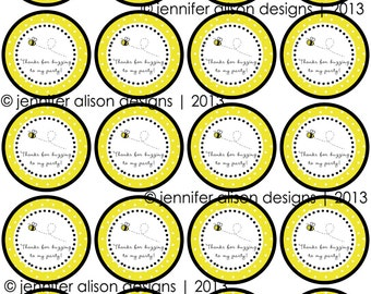 "INSTANT DOWNLOAD / Bumble Bee Party  2"" printable Party Circles /  Cupcake Topper / Stickers / Thank You Tags"