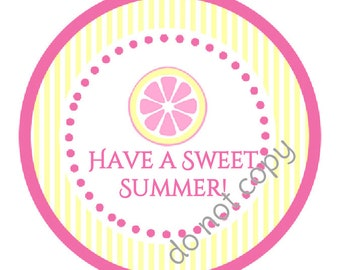 "INSTANT DOWNLOAD / Pink Lemonade Sweet Summer Party  2"" printable Party Circles /  Cupcake Topper / Stickers / Thank You Tags"