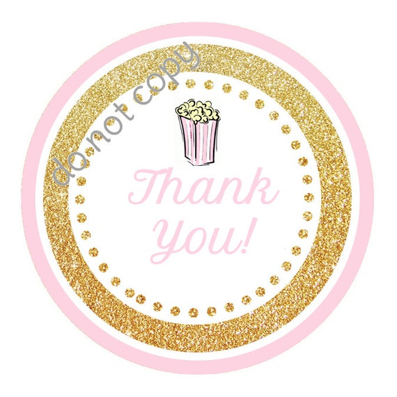 INSTANT DOWNLOAD Ready To Pop Baby Shower Popcorn Pink Gold Thank