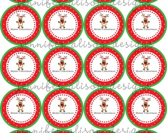 "INSTANT DOWNLOAD / Reindeer Merry Christmas 2"" printable Party Circles / Cupcake Topper / Stickers / Thank You Tags"