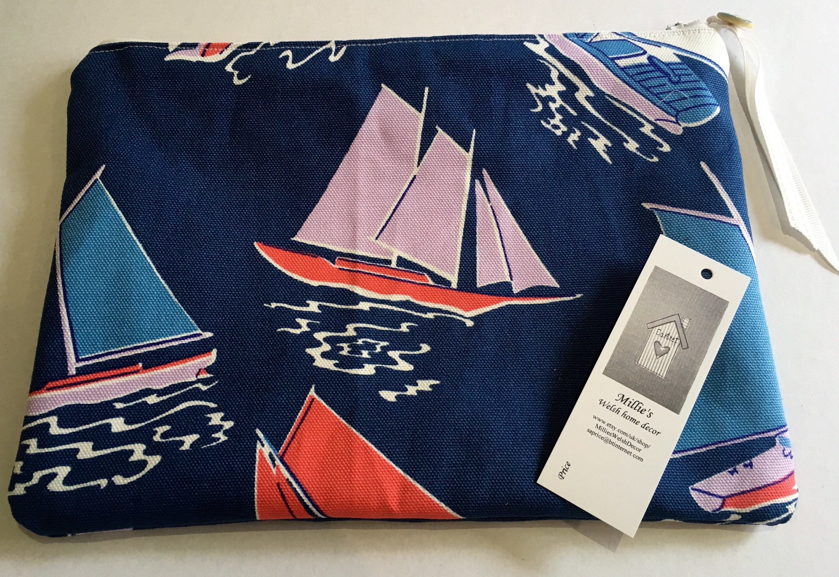 Cosmetic accessories pencil case storage bag . Cath Kidston fabric sailboat pattern & Cosmetic accessories pencil case storage bag . Cath Kidston fabric ...