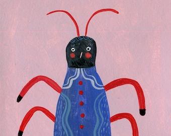 Funny Bug , little Original illustration
