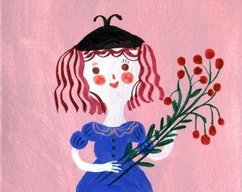 girl with flowers, little Original illustration