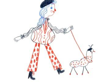 Walking   , little Original illustration