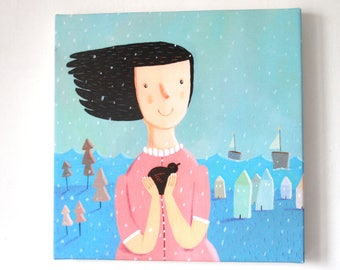 little bird  canvas print , home decor, wall decor, wall art, nursery design