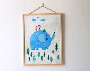 Elephant with friends  BIG PRINT , home decor , wall art
