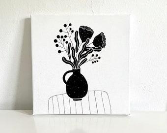Flowers Original Illustration on canvas, home decor, wall decor, wall art,