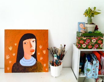 portrait  with flowers BIG original painting on canvas
