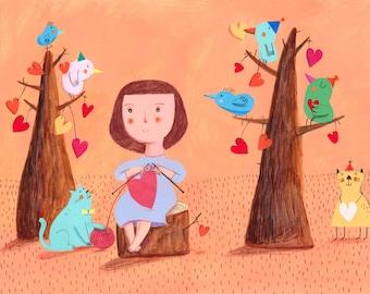 sharing love   Original Illustration