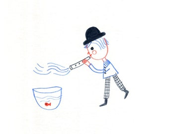 music for my fish friend   , little Original illustration