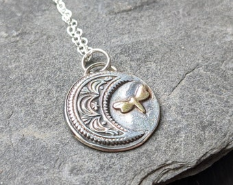 Moon and Dragonfly Fine Silver Pendant