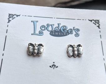 Butterfly Fine Silver Stud Earrings