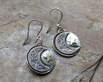 Fine Silver Moon and Star Statement Earrings