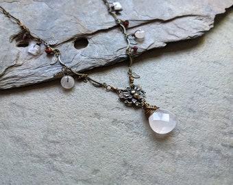 Rose Quartz Butterfly Vintage Style Nature Necklace