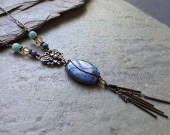 Sodalite Butterfly Vintage Style Nature Necklace
